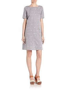 Eileen Fisher Nomadic Stripe Organic Cotton Dress - Denim - Size L
