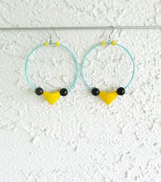 Colorful Hoop Earrings Origami Heart Large Hoops Valentine's Jewelry Paper Blue Yellow Fuchsia Earrings Eco Friendly Upcycle Vegan Earrings by LeftysHandcrafts on Etsy