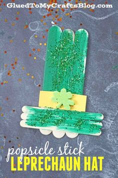Popsicle Stick Leprechaun Hat - Kid Craft idea perfect for St. Patty's Day!