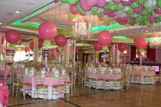 Candy Themed Bat Mitzvah Candy Themed Bat Mitzvah with Themed Centerpieces, Large Pink Balloons & Lime & Pink Ceiling Balloons at Seasons Caterering Bat Mitzvah Themes, Bar Mitzvah Party, Balloons And More, Pink Balloons, Pink Party Decorations, Party Themes, Party Ideas, Pink Parties, Birthday Parties