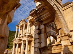 The Ancient City of Ephesus is an outstanding example of a Roman port city, with sea channel and harbor basin.