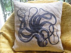 Vintage Octopus  pillow cover -18x18 inches-throw pillow -sublimation dyed processing. $18.99, via Etsy.