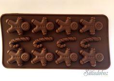 Szilikon csokoládé bonbon forma - Mézeskalácsemberke és cukorka