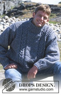 "DROPS ladies or men's jumper with cable pattern in ""Alaska-Tweed"". Long or short version.   Free pattern by DROPS Design."