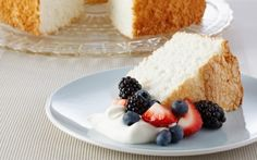 Angel Food Cake by Anna Olson This light and fluffy cake uses no fat. Complete with whipped cream and berries, it's perfect for angels. (Egg White) @FoodNetwork_UK