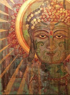 Golden Buddha by Diana Comstock Buddha Zen, Gautama Buddha, Buddha Buddhism, Street Art, Buddhist Philosophy, Buddha Painting, Zen Meditation, Taoism, Painting Gallery
