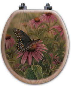 Black Swallowtail Butterfly Oak Round Toilet Seat