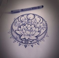 Lunar Phase Lotus - 31 of the Prettiest Mandala Tattoos on Pinterest - Livingly