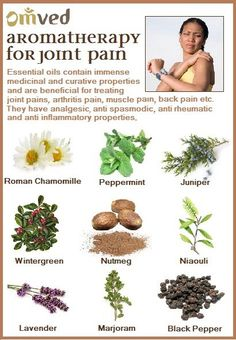 Essential oils contain immense medicinal and curative properties and are beneficial for treating joint pains, arthritis pain, muscle pain, back pain, etc. They have analgesic, anti-spasmodic anti-rheumatic and anti-inflammatory properties.   Try any of these oils on a hot wet compress or mix with a carrier oil for a rejuvenating massage.