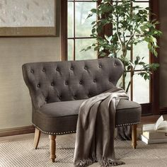 Charcoal Grey Tufted Natural Reclaimed Spooled Leg Loveseat Settee Online Furniture Stores, Furniture Deals, Dining Furniture, Blue Furniture, Vintage Furniture, Living Room Decor, Living Spaces, Booth Seating, Curved Sofa