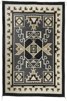 Navajo Two Grey Hills Storm Pattern Textile by Daisy Tauglechee c. late 1940 78 x 48 First Prize at the 1957 International Indian Ceremonial in Gallup, New Mexico