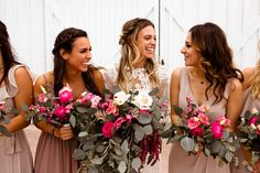 Bridesmaids bouquets:: Flowers: Moss Floral Design I Photo: A Nomadic Love I Stylist: Yvette and Marie Events I Gown: Madeleine Gardner I HMUA: Erika Antonio