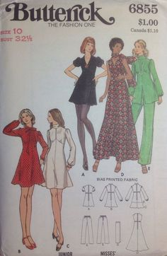 Vintage Sewing Pattern Retro 1970's MoD Mini or Maxi Length Dress Pants Tunic Pantsuit Misses Size 10 Uncut