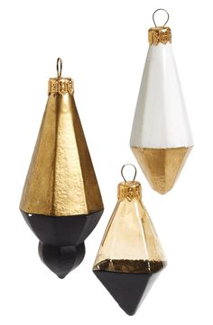 Nordstrom at Home 'Two Tone Gems' Handblown Glass Ornament (Set of Three)