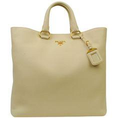 PRADA Vitello Diano Tote ($860) ❤ liked on Polyvore featuring bags, handbags, tote bags, danielle, purses, accessories, bolsas, prada tote, brown tote bags and prada handbags