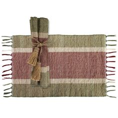 Vetiver Placemats - Brown/Maroon Stripes