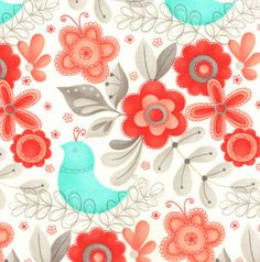 Flirt Large Floral White Diamond Fabric  by QuiltsFabricandmore, $9.99