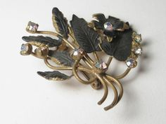 Vintage Brooch Gold Tone and Black Enamel Floral by stampshopgirl