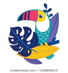 Bird Toucan with tropical leaves - classy jungle illustration, colorful and stylish design in a bright colorway. Arte Pop, Decoration Creche, Jungle Illustration, Indian Art Paintings, Mural Art, Art Plastique, Flat Design, Bird Art, Clipart