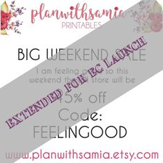 SALE EXTENDED TILL 6 MAY FOR EC LAUNCH  I am feeling good and want to spread the love so this weekend everything in the store is 45% off with code: FELLINGOOD  Lots of new Releases are in shop for summer so stock up!  #plannergirl #planimals #planners #plannerlove #plannernerd #eclifeplanner #eclp #erincondrenstickers #erincondrenprintables #pgw #llamalove #wildforshops #popoverplanners #popnshop #tn #tnlove #foxyfix #kikkik #filofax #katespade #etsyshop #etsysale #weekendsale