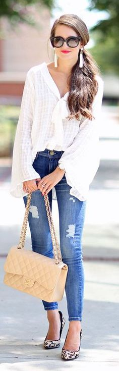 White Bow Blouse Tan Chanel Bag Ripped Skinnies Leo Pumps by Southern Curls and pearls Business Casual | Women's Clothing | Fashion | Dresses | Skirts | Jeans | Cute Outfits | Tops | Pants | Jackets | SHOP @ CollectiveStyles.com