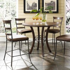 Hillsdale Cameron 5 Piece Counter Height Round Wood Dining Table Set with Ladder Back Chairs - HL3222