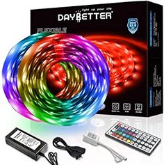 Daybetter Led Strip Lights With 44 Keys Ir Remote And Power Suppl Flexible Led Strip Lights, Rgb Led Strip Lights, Led Light Strips, Strip Lighting, Light Strips For Bedroom, Power Colors, Light Colors, Color Changing Lights, Diy Décoration