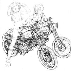 16 Ideas For Motorcycle Drawing Anime Car Drawings, Drawing Sketches, Drawing Ideas, Bike Sketch, Poses References, Anime Kunst, Illustration, Motorcycle Art, Manga Art