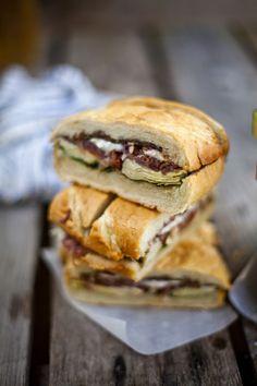 Marinated Artichoke, Proscuitto & Goat Cheese Sandwich + Balsamic