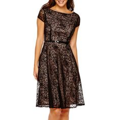 Black Label by Evan-Picone Cap-Sleeve Fit-and-Flare Dress  found at @JCPenney