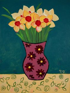 Daffodils Painting, Still Life Artwork, Teal and Yellow Painting, Floral Art £60.00