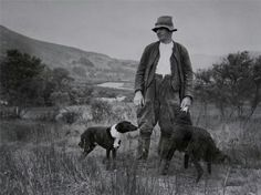 Welsh farmer surveys his land prior to it being flooded to make Llyn Celyn reservoir near Bala.