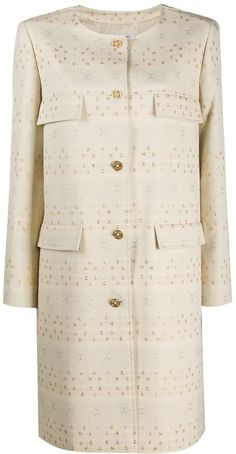 Logo-Embroidered Collarless Coat Peplum Dress, Chanel, Logo, Dresses, Fashion, Vestidos, Moda, Logos, Fashion Styles