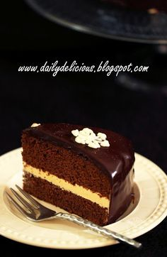 dailydelicious: Chocolate chiffon cake with caramel buttercream and chocolate ganache