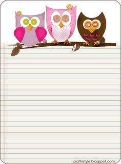 free owl note paper printable