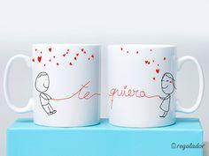 Tazas super románticas con un diseño exclusivo, Un regalo original y muy especial. Hay diferentes modelos y puedes disfrutarlas solas o la pareja. También la tienes en su versión personalizable.