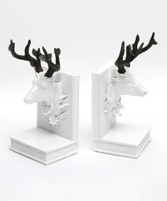 Another great find on #zulily! White Branch-Antler Deer Head Bookend - Set of Two #zulilyfinds