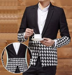 2-tone-black-white-houndstooth-stylish-mens-blazer    www.pilaeo.com #men's #luxury #expert