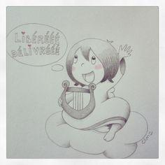 Singing angel, sketch by Chrystele Lim -http://bulles-de-clim.blogspot.com