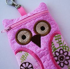 Flowers in Pink Owl Flip Gadget Case Large by sewingamity on Etsy, $15.00