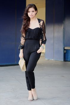 pleated bust jumpsuit with high waist.