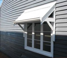 Timber Awnings hand made in Perth WA, Traditional Timber Awnings for traditional homes and new homes, colorbond roof, selection of awning bracket designs, bull nose or straight Awnings in Perth WA Metal Awnings For Windows, Outdoor Window Awnings, House Awnings, Timber Windows, Front Door Awning, Front Door Canopy, Window Canopy, Bay Window, Porch Awning