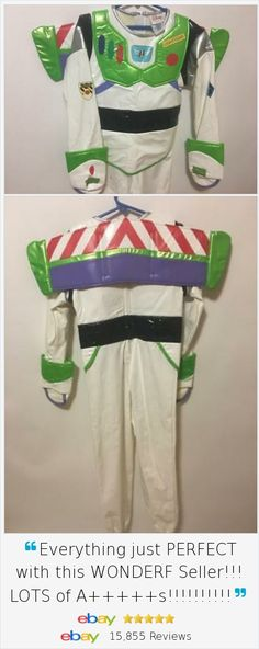 TO Infinity and Beyond!! He'll love trick or treating in this Halloween Disney Buzz Lightyear Costume.  Deluxe version has Jet Wings Boots & makes Toy Story come alive. Sz Medium.