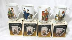 Set Of 4 1982 Vintage Norman Rockwell Museum Porcelain Cups Or Mugs New In Box