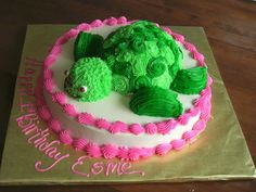 Turtle - Turtle cake  for a 1 yr old that loves turtles. Vanilla cake w/buttercream.  Thanks allibopp5 for the idea!