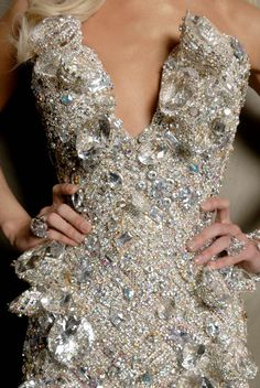 Phillipe Blond by Udo Spreitzenbarth and Ty-Ron Mayes. Jewel encrusted dress detail.sparkle gown