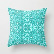 Ethnic Turquoise pattern , tribal pattern , morocco Throw Pillow