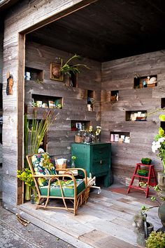 This is clever. I would add some succulent plantings in those fun nooks and how about some built-in closed storage for hobby supplies!