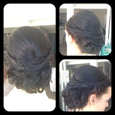 Amber Heater, Gorgeous Hair Salon, Salisbury MD Bridesmaid updo with curls and fish tail braids