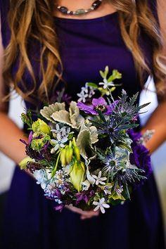 Dark #purple bridesmaid style #wedding